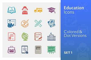 Education Icons Set 1 | Colored