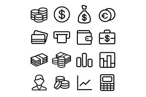 Money Line Style Icons Set