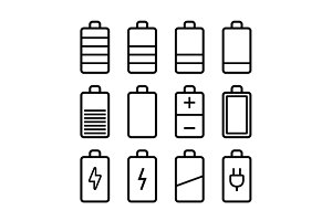 Battery line style icons set