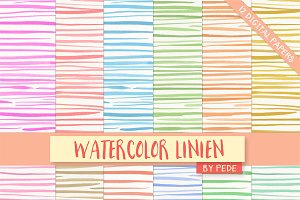 Watercolor linien digital paper