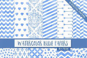 Watercolor blue digital papers