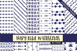 Navy and white watercolor papers