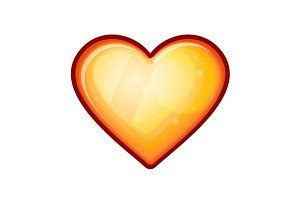 Golden shiny heart shape
