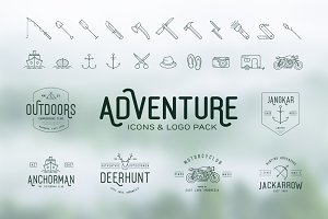 Adventure Icons + Vintage Logo Pack