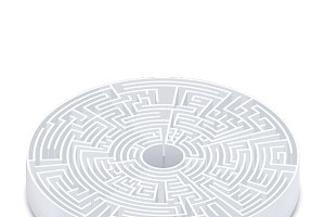 Complicated round labyrinth