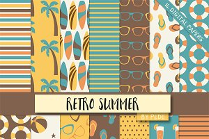 Retro summer digital paper