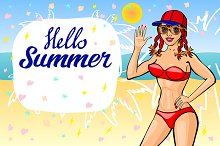 Hello summer lettering girl beach