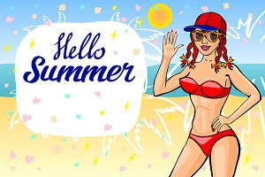 Hello summer lettering girl beach