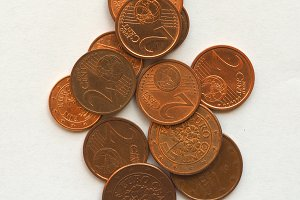 Euro coins 1 and 2 cents