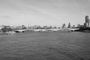 Waterloo Bridge in London in black and white