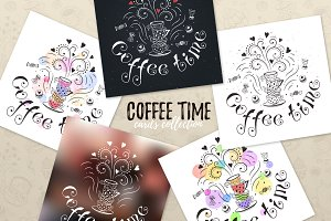 Coffee time greeting cards design