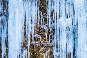 Frozen waterfall of blue icicles