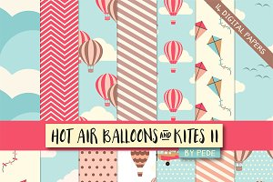 Hot air balloons digital paper