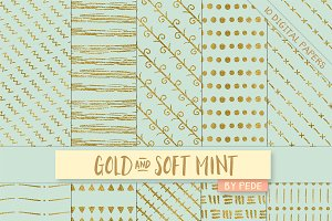 Gold and soft mint digital paper