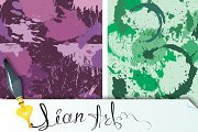 Set of 8 seamless pattern with blots