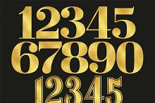 Gold foil numbers clip art