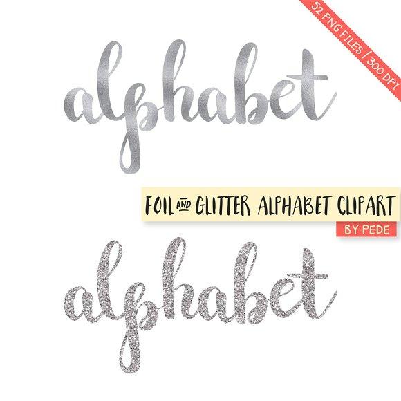 Alphabet Foil Silvers: Silver Glitter And Foil Alphabet