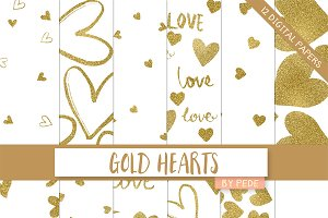Gold hearts digital papers
