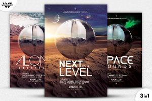 3in1 SPACE FUTURISTIC Flyer Template