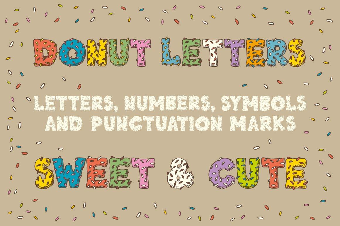 Donut letters illustrations creative market buycottarizona Images