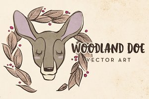 Woodland Doe & Wreath Vector Art
