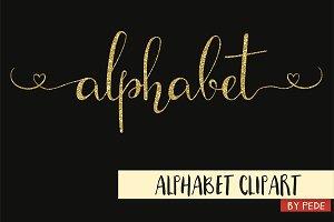 Gold glitter alphabet clip art