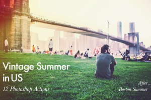 Vintage Summer in US - 12 PS Actions