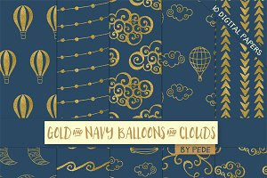 Gold and navy blue digital paper