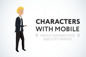 Characters with mobile in city