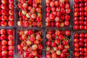 Red Organic fresh cherry pack