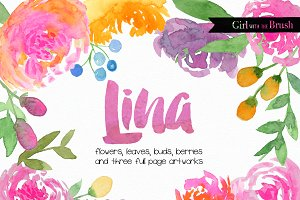 Bright Watercolor Florals Bundle