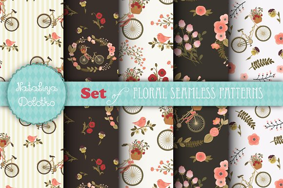 5 Floral Vector Seamless Patterns