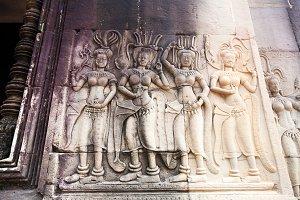 Stone Carving in Angkor wat