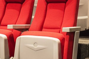 Modern red theatre seats