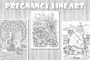 Pregnancy Line Art Coloring Pages