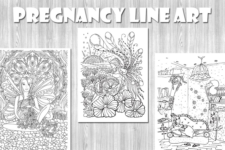 Pregnancy Line Art Coloring Pages