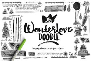 Wonderlove Doodle (4 Fonts)+Extra