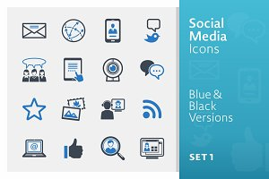 Social Media Icons Set 1 | Blue