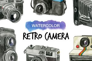 6 Watercolor Retro Camera