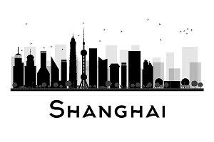 Shanghai City skyline silhouette