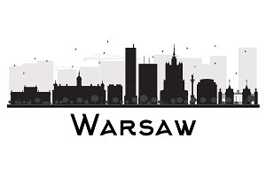 Warsaw City skyline silhouette