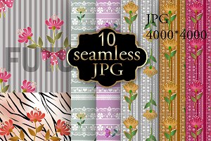 Seamless floral lace pattern