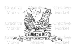 Farmers market hen eggs badge