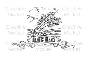 Farmers market cereals badge.