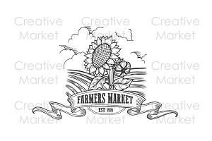 Farmers market sunflower badge