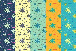 Tropical surfing seamless pattern