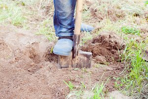 man digging soil