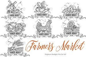 Farmers market badges vector Set.