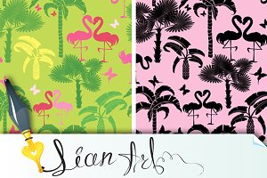 seamless patterns with flamingos