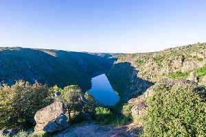 Landscape with river and cliffs in Arribes del Duero. Spain.
